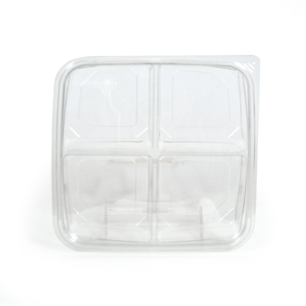 4 Cell Square Tray w/Lid 7""