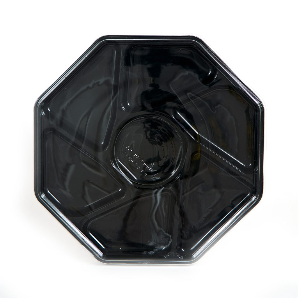 7 Cell Black Octagon Tray w/Lid 13""