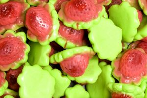 Filled Strawberry Red & Green Gummies