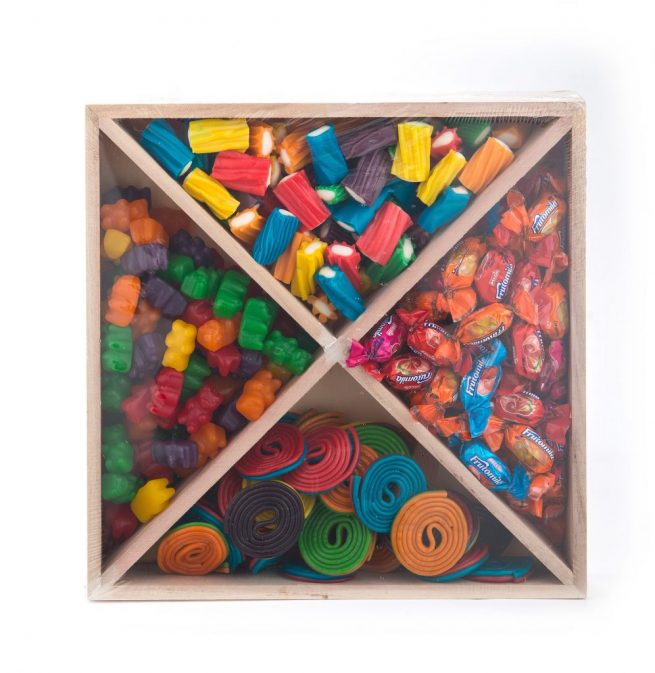 Small Wooden Square Candy Platter