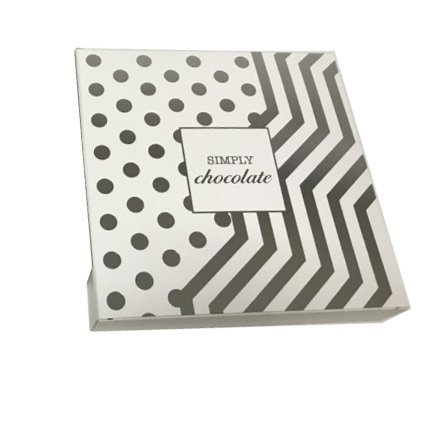 "Simply Chocolate Gift Box (White & Silver) 6"" square"